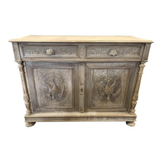 French Black Forest Louis XIII Carved Walnut Buffet For Sale