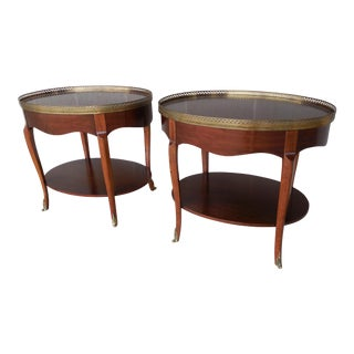 Baker French Louis XV Style Brass Mounted With Gallery Accent End Tables - Pair For Sale
