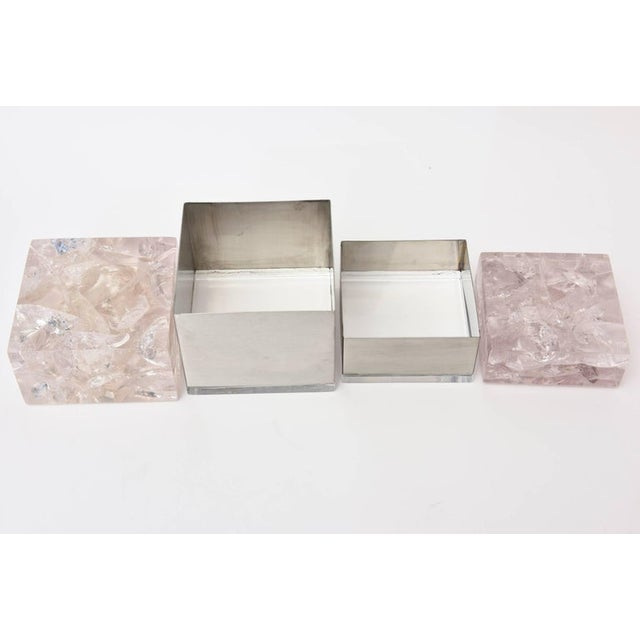 Pierre Giraudon Embedded Lucite and Stainless Steel Boxes-A Pair For Sale - Image 10 of 11