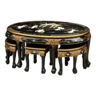 Asian Black Lacquer Mother of Pearl Low Table & Stools