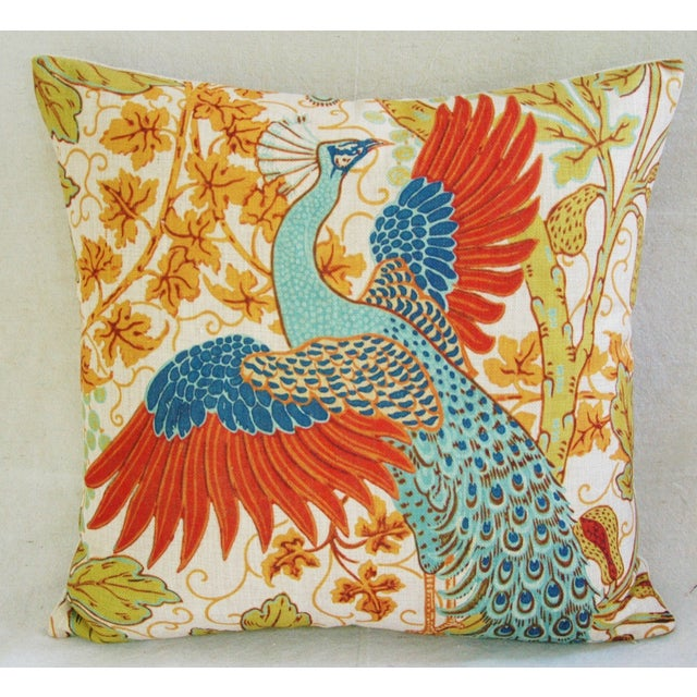 Colorful Peacock Linen Feather/Down Pillow - Image 2 of 5