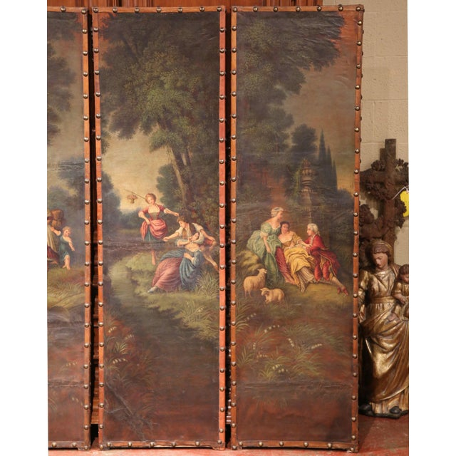 18th Century, French Hand-Painted Leather Four-Panel Screen from Lyon For Sale - Image 4 of 11