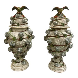 "Spectacular Pair Antique ""Mille Fleurs"" Dresden Urns and Covers, Unique Design, Circa 1910-1920. For Sale"