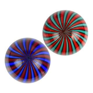 Fratelli Toso Murano Vintage Blue Red Green Orange Stripes Italian Art Glass Paperweights - a Pair