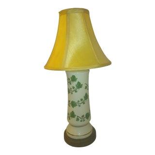Vintage Ceramic Cylinder Table Lamp With Vines For Sale