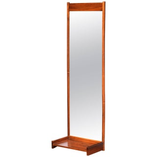 Large Scandinavian Solid Rosewood Hanging Mirror and Shelf For Sale