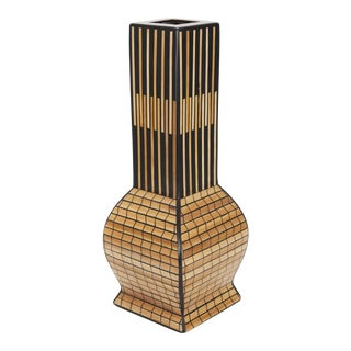 "1990s Asian Postmodern Black and Bamboo ""Tempo"" Vase For Sale"