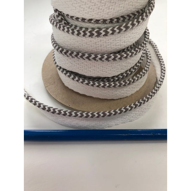 """Textile Braided 1/8"""" Indoor-Outdoor White-Gray Cord For Sale - Image 7 of 10"""