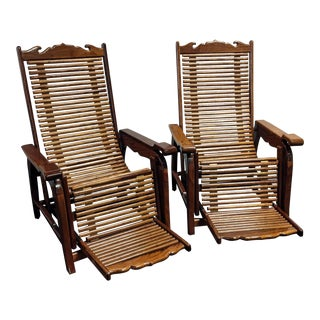 Rosewood Slatted Recliners - A Pair
