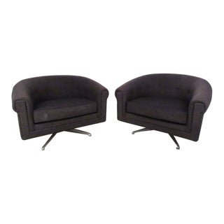 Pair of Mid-Century Style Swivel Lounge Chairs by Selig For Sale