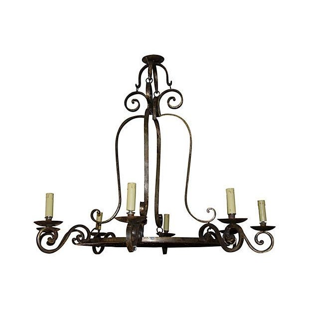 8-Light Wrought Iron Chandelier For Sale