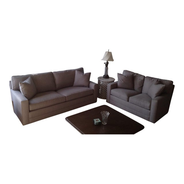 Lexington Bristol Grey Performance Fabric Loveseat & Couch Sofa - a Pair For Sale
