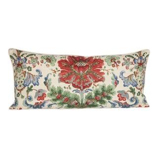 Schumacher Linen Peony Large Lumbar Pillow For Sale
