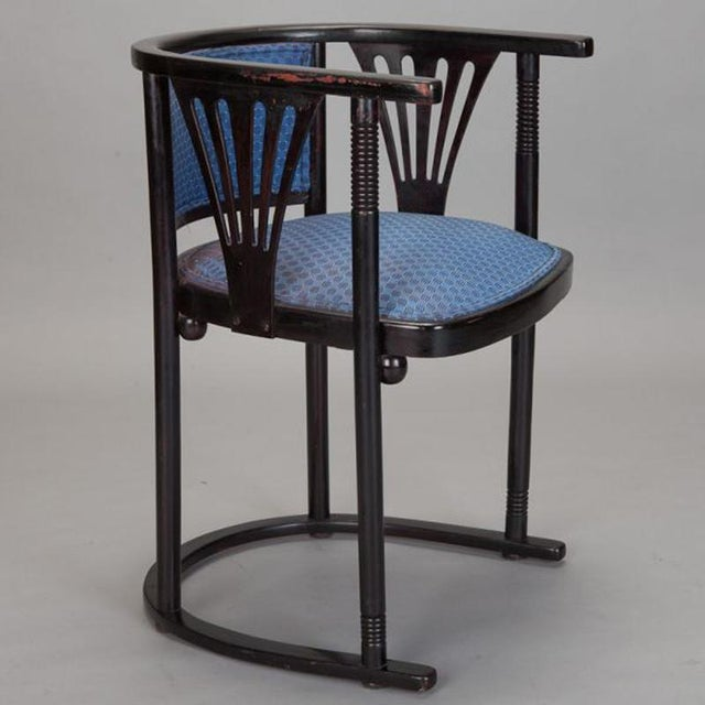 Pair of Josef Hoffmann Armchairs with Blue Upholstery - Image 2 of 5