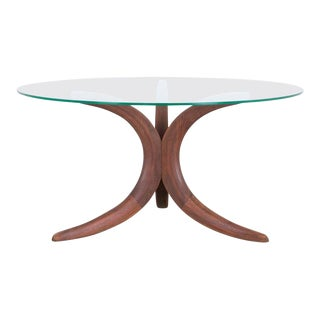 1960s Danish Modern Glass Coffee Table For Sale