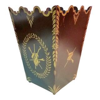 Vintage Italian Black & Gold Metal Toleware Musical Motif Wastebasket