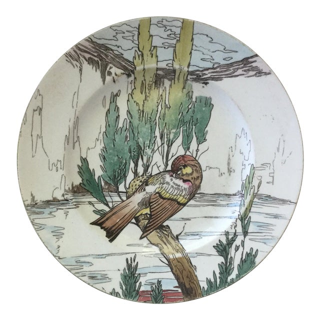 Large English Bird Plate Mintons, circa 1900 For Sale