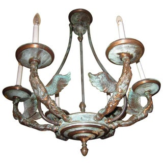 French Empire Patinated Bronze Figural Chandelier For Sale