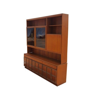 1960s Mid-Century Modern Teak Credenza With Glass Display Cabinet