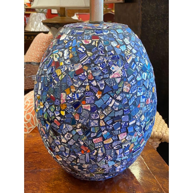 Ink Blue 1990s Broken China Mosaic Lamps - a Pair For Sale - Image 8 of 13