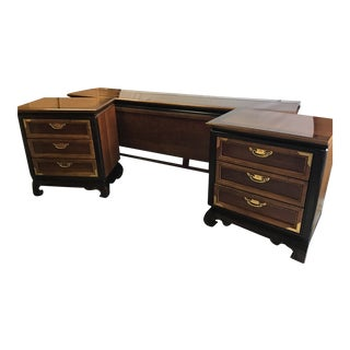 Mid Century Chin Hua Chinoiserie Style Nightstands & Queen Bed- Set of 3 For Sale