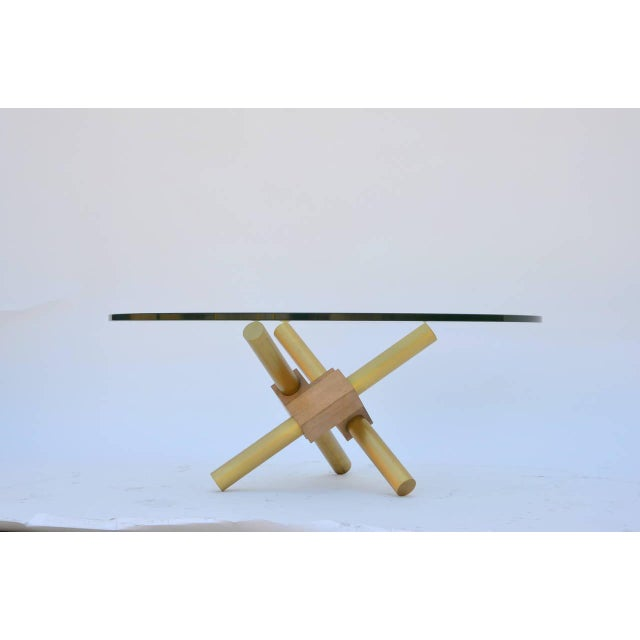 Brass Small Round Tripod Brass and Glass Coffee Table For Sale - Image 7 of 7