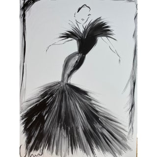 """Black Feather Evening Gown"" Original Christian Siriano Painting For Sale"