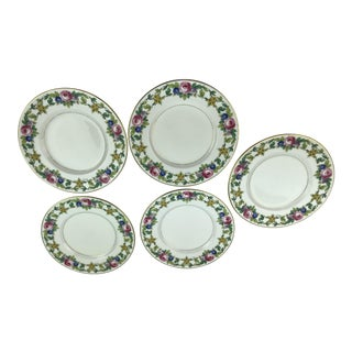 Minton Gilded Rose Lunch Plates - Set of 5 For Sale
