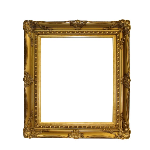 Wood Golden Scroll Motif Rim Rectangular Picture Painting Frame For Sale In San Francisco - Image 6 of 6