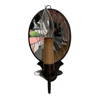 Scofield Aged Tin Mirrored Wall Sconce For Sale
