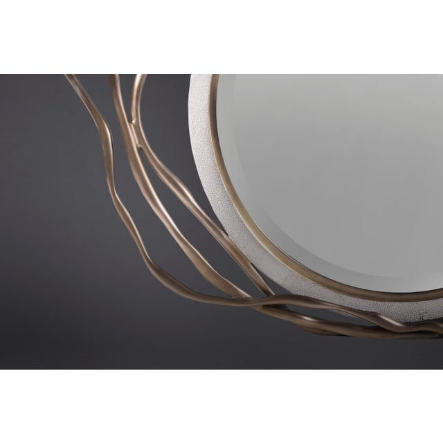 Not Yet Made - Made To Order Dargelos Mirror in Cream Shagreen and Bronze-Patina Brass by Kifu Paris For Sale - Image 5 of 6