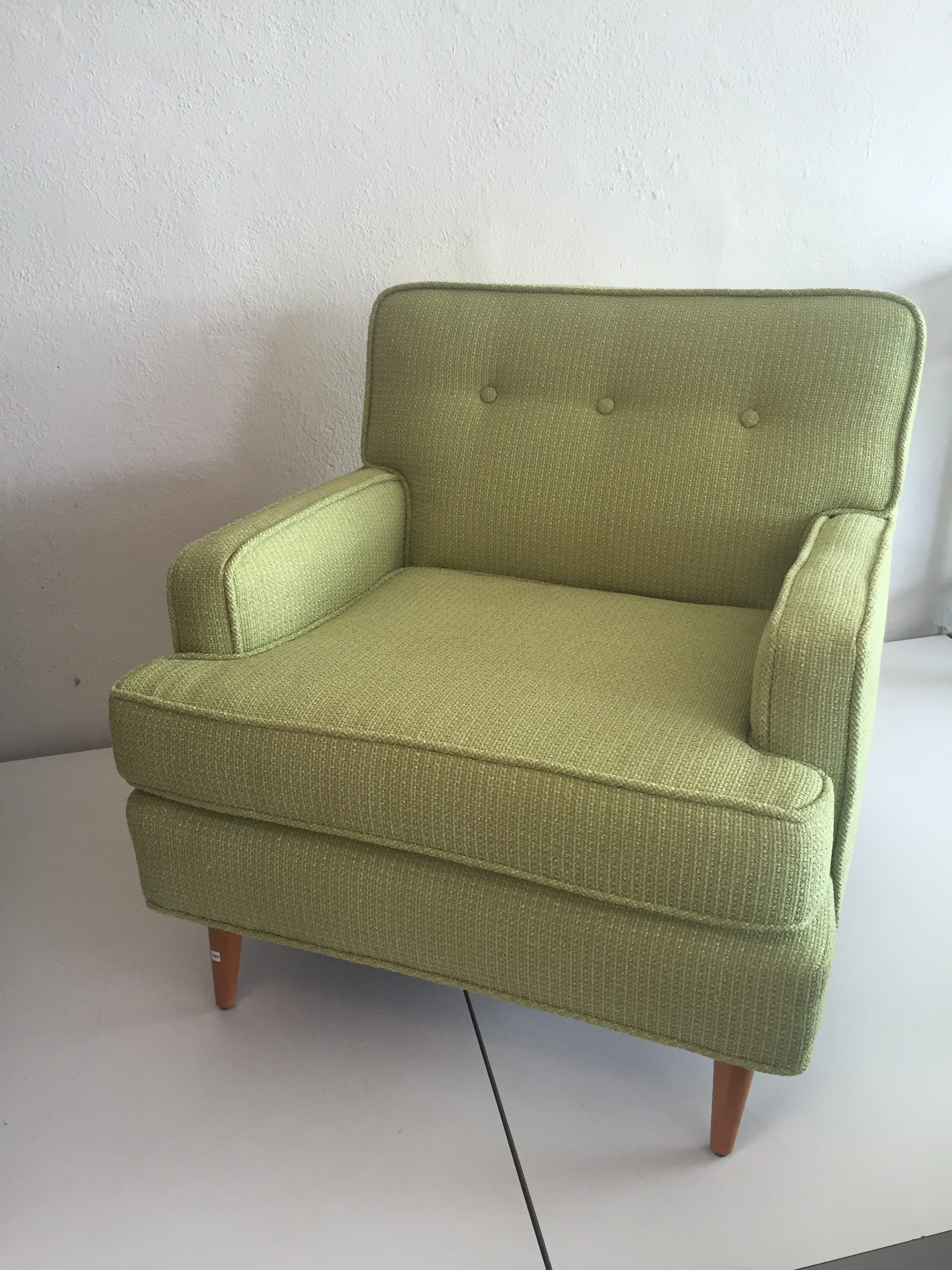 1950s Tufted Chartreuse Club Chair   Image 4 Of 6