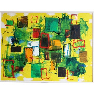Mid Century Abstract Expressionist Original Oil Painting For Sale