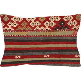 "Nalbandian - 1960s Turkish Kilim Pillow - 14"" X 20"" For Sale"