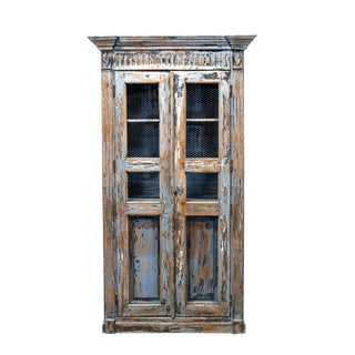 19th Century French Blue Cabinet For Sale