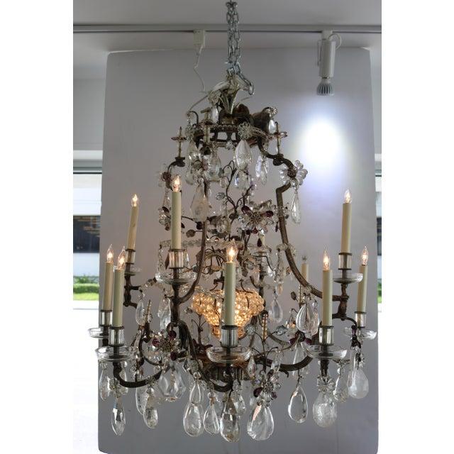 Masion Bagues, 12-Light, Rock Crystal & Amethyst Chandelier For Sale - Image 11 of 11