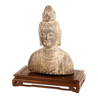 Female Buddhist Bust in Carved Stone For Sale