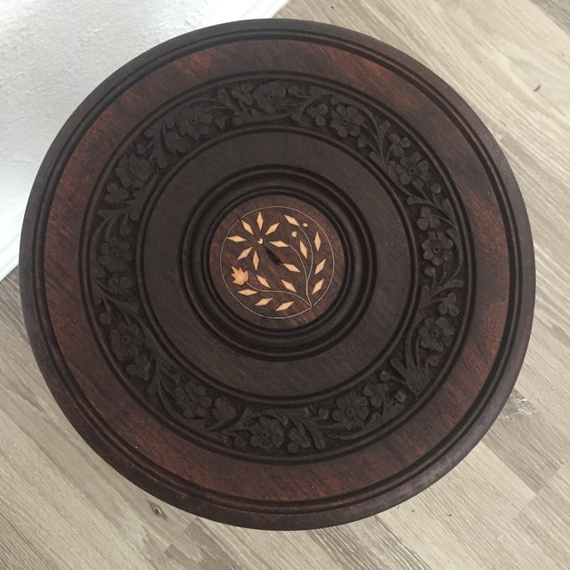 Floral Carved Chai Table - Image 3 of 9
