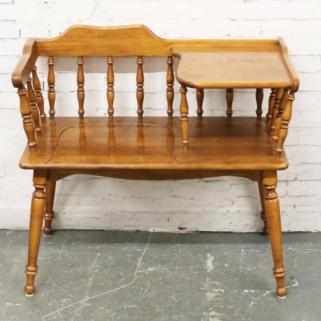 Vintage Ethan Allen Maple Nutmeg Heirloom Telephone Gossip Bench ...