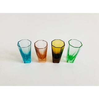 Vintage Octagonal Rainbow Shot Glasses - Set of 4 Preview