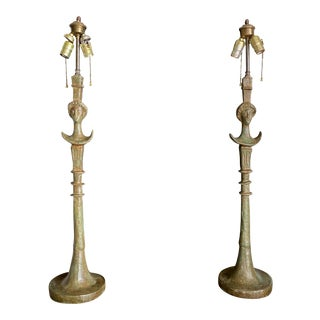 Vintage Giacometti Bronze Lamps - a Pair For Sale