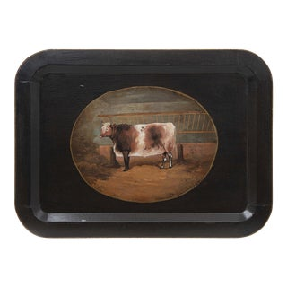 Vintage Farm Animal Tray Depicting Rustic Cow For Sale