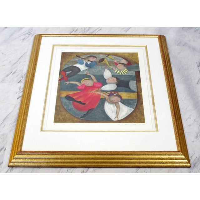 Mid 20th Century Mid-Century Modern Gold Framed Lithograph Signed by Graciela Boulanger For Sale - Image 5 of 7