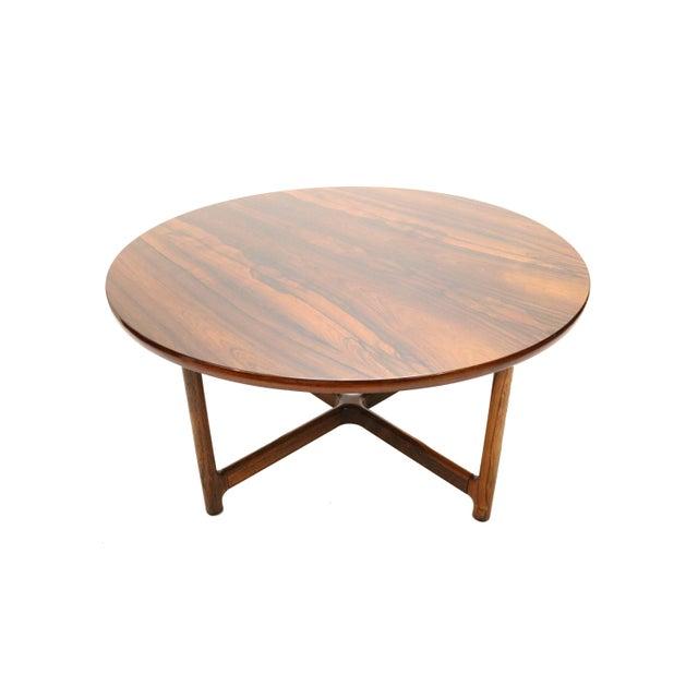 Mid-Century Modern Scandinavian Modern Arne Halvorsen for Rasmus Solberg of Norway Round Rosewood Coffee Table For Sale - Image 3 of 7