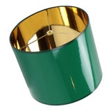 Image of Medium Drum High Gloss Dark Green Lampshade With Gold LIning For Sale