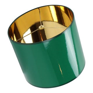 Medium Drum High Gloss Dark Green Lampshade With Gold LIning For Sale