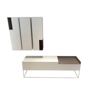 MDF Italia Inmotion Media Console With Wall Columns - 4 Pc. Set For Sale