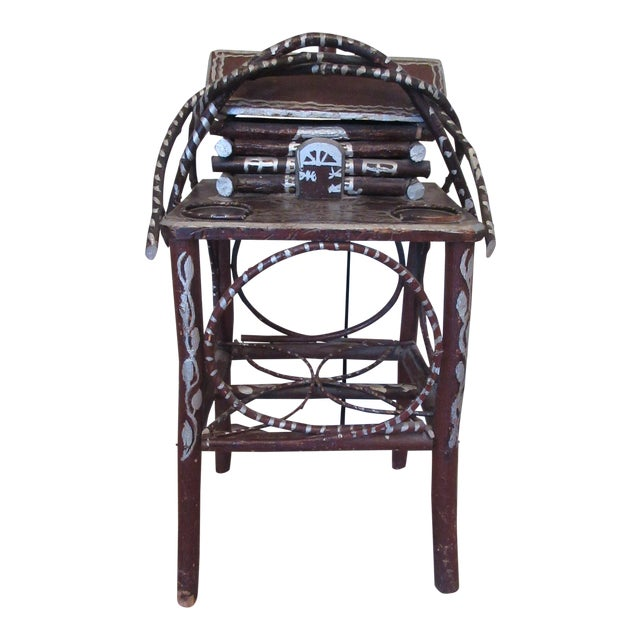 Tramp Art Twig Smoking Table For Sale