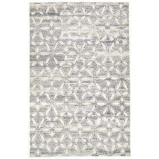 Modern Geometric Floral Area Rug - 7′9″ × 9′9″ For Sale