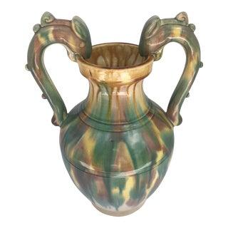 Vintage Majolica Style Ceramic Dragons Urn